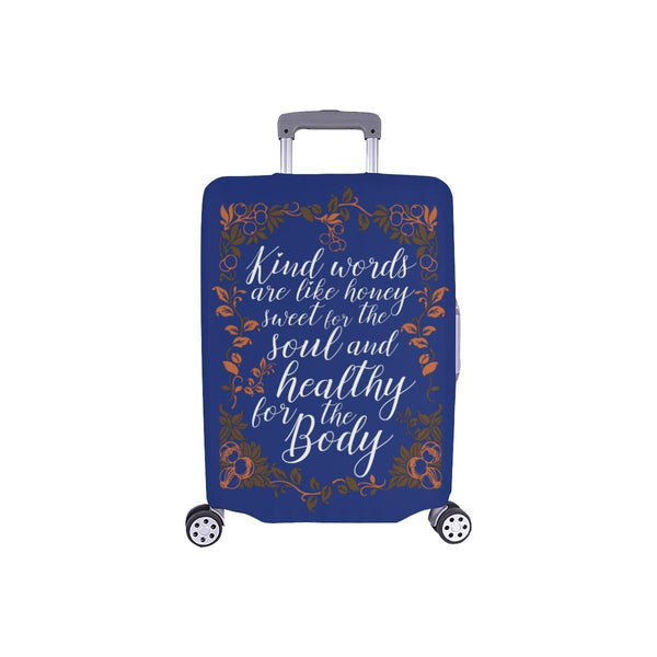Kind Words Are Sweet For Soul & Healthy For Body Christian Travel Luggage Cover-S-Navy-JoyHip.Com