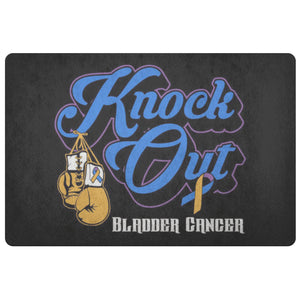 Knock Out Bladder Cancer 18X26 Thin Indoor Door Mat Outdoor Room Entry Rug-Doormat-Black-JoyHip.Com