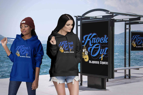 Knock Out Bladder Cancer Awareness Yellow Blue Purple Ribbon Awesome Gift Hoodie-T-shirt-JoyHip.Com