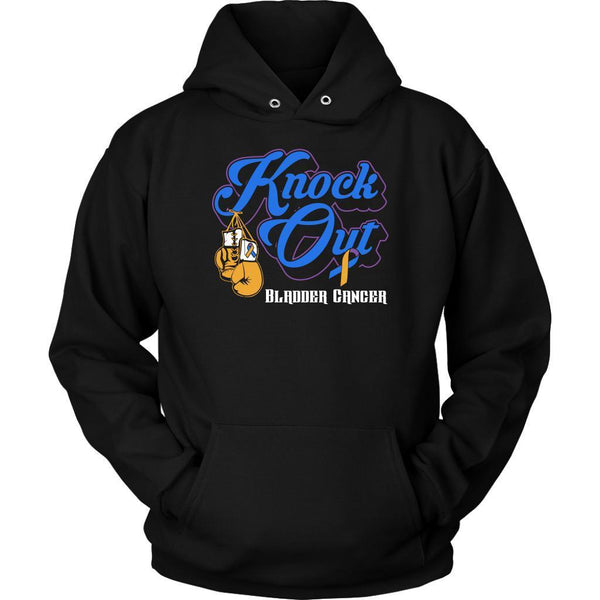 Knock Out Bladder Cancer Awareness Yellow Blue Purple Ribbon Awesome Gift Hoodie-T-shirt-Unisex Hoodie-Black-JoyHip.Com