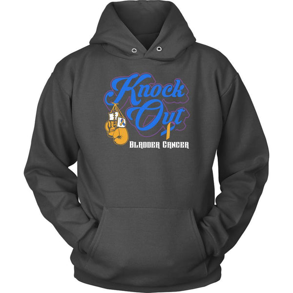Knock Out Bladder Cancer Awareness Yellow Blue Purple Ribbon Awesome Gift Hoodie-T-shirt-Unisex Hoodie-Grey-JoyHip.Com