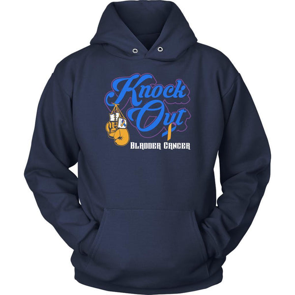 Knock Out Bladder Cancer Awareness Yellow Blue Purple Ribbon Awesome Gift Hoodie-T-shirt-Unisex Hoodie-Navy-JoyHip.Com