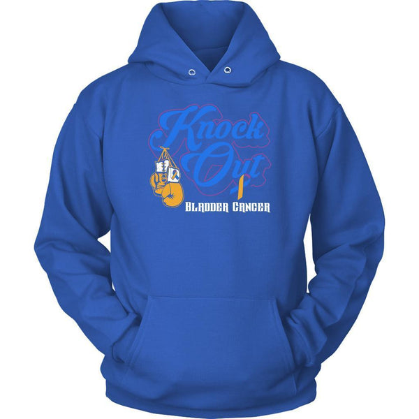 Knock Out Bladder Cancer Awareness Yellow Blue Purple Ribbon Awesome Gift Hoodie-T-shirt-Unisex Hoodie-Royal Blue-JoyHip.Com