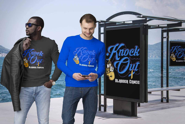 Knock Out Bladder Cancer Awareness Yellow Blue & Purple Ribbon Gift Sweater-T-shirt-JoyHip.Com