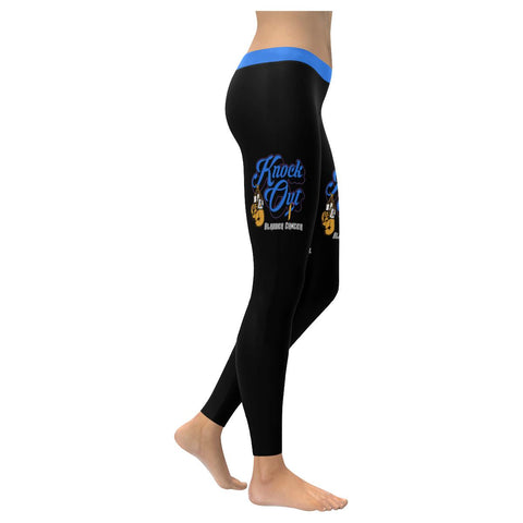 Knock Out Bladder Cancer Blue Yellow Purple Ribbon Pretty Soft Legging For Women-XXS-Black-JoyHip.Com