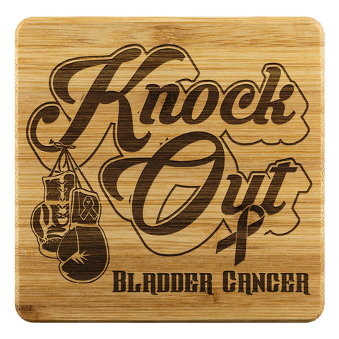 Knock Out Bladder Cancer Cute Drink Coasters Set Gifts Idea-Coasters-Bamboo Coaster - 4pc-JoyHip.Com