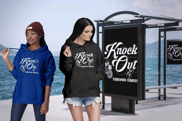 Knock Out Carcinoid Cancer Awareness Zebra Stripe Ribbon Cool Gift Ideas Hoodie-T-shirt-JoyHip.Com