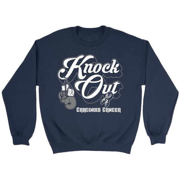 Knock Out Carcinoid Cancer Awareness Zebra Stripe Ribbon Gift Ideas Sweater-T-shirt-Crewneck Sweatshirt-Navy-JoyHip.Com