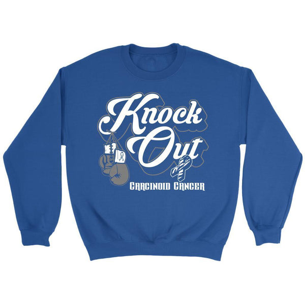 Knock Out Carcinoid Cancer Awareness Zebra Stripe Ribbon Gift Ideas Sweater-T-shirt-Crewneck Sweatshirt-Royal Blue-JoyHip.Com