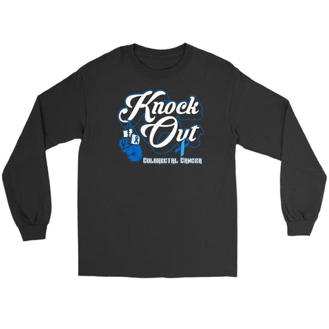 Knock Out Colorectal Cancer Awareness Blue Ribbon Gift Idea Long Sleeve Shirt-T-shirt-Gildan Long Sleeve Tee-Black-JoyHip.Com