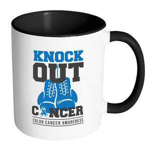 Knock Out Colorectal Cancer Colon Cancer Awareness Fight Blue Ribbon 11oz Accent Coffee Mug(7 Colors)-Drinkware-Accent Mug - Black-JoyHip.Com