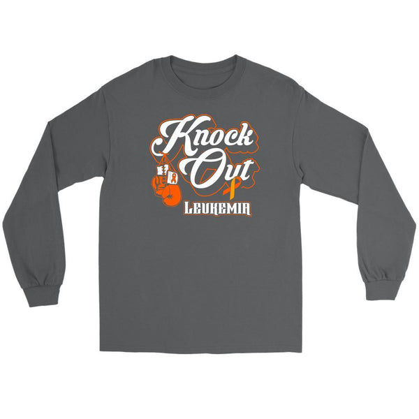 Knock Out Leukemia Awareness Orange Ribbon Cool Long Sleeve T-Shirts-T-shirt-Gildan Long Sleeve Tee-Grey-JoyHip.Com