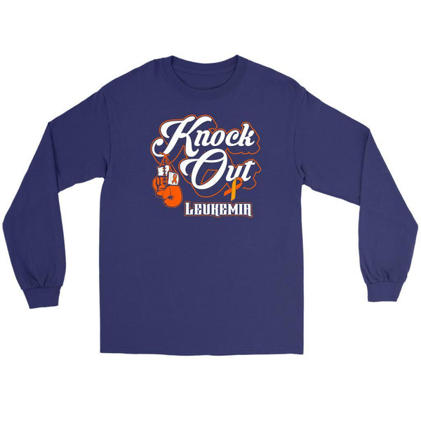 Knock Out Leukemia Awareness Orange Ribbon Cool Long Sleeve T-Shirts-T-shirt-Gildan Long Sleeve Tee-Purple-JoyHip.Com