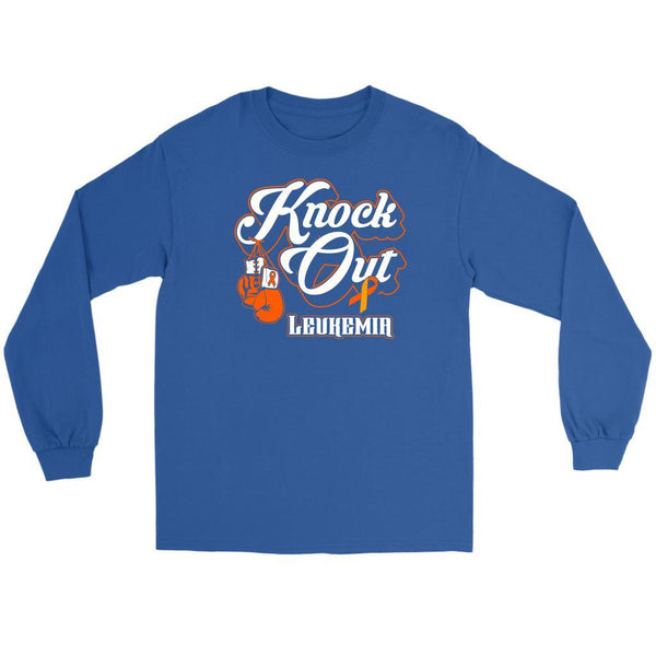 Knock Out Leukemia Awareness Orange Ribbon Cool Long Sleeve T-Shirts-T-shirt-Gildan Long Sleeve Tee-Royal Blue-JoyHip.Com