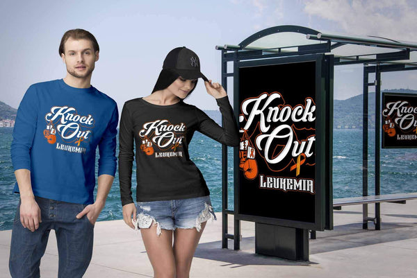 Knock Out Leukemia Awareness Orange Ribbon Cool Long Sleeve T-Shirts-T-shirt-JoyHip.Com
