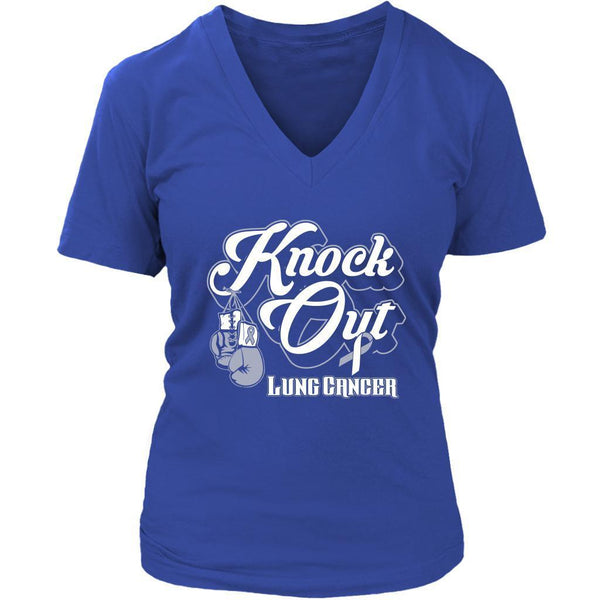 Knock Out Lung Cancer Awareness White Ribbon Cool Gift VNeck TShirt-T-shirt-District Womens V-Neck-Royal Blue-JoyHip.Com