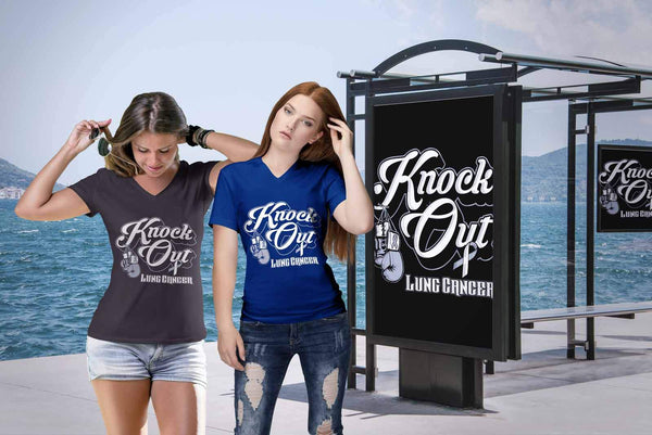 Knock Out Lung Cancer Awareness White Ribbon Cool Gift VNeck TShirt-T-shirt-JoyHip.Com