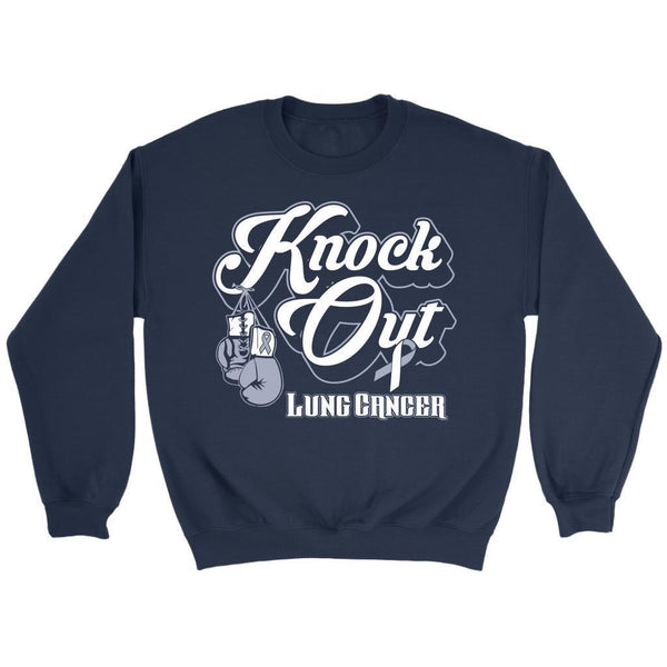 Knock Out Lung Cancer Awareness White Ribbon Gift Ideas Sweater-T-shirt-Crewneck Sweatshirt-Navy-JoyHip.Com