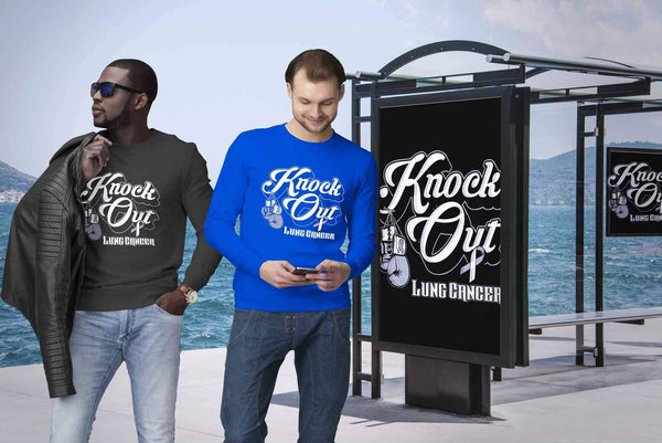Knock Out Lung Cancer Awareness White Ribbon Gift Ideas Sweater-T-shirt-JoyHip.Com
