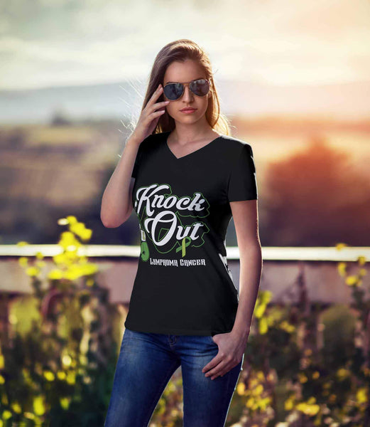 Knock Out Lymphoma Awareness Lime Green Ribbon Awesome Cool Gift VNeck TShirt-T-shirt-JoyHip.Com