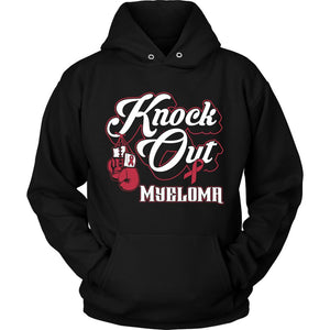 Knock Out Multiple Myeloma Cancer Awareness Burgundy Ribbon Unisex Hoodie For Men & Women-T-shirt-Unisex Hoodie-Black-JoyHip.Com