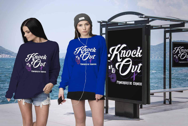 Knock Out Pancreatic Cancer Awareness Purple Ribbon Awesome Gift Ideas Sweater-T-shirt-JoyHip.Com