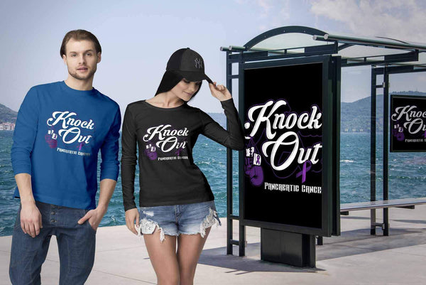 Knock Out Pancreatic Cancer Awareness Purple Ribbon Awesome Gift Long Sleeve-T-shirt-JoyHip.Com