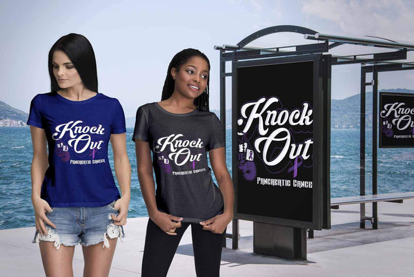 Knock Out Pancreatic Cancer Awareness Purple Ribbon Awesome Gift Women TShirt-T-shirt-JoyHip.Com