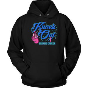 Knock Out Thyroid Cancer Awareness Teal Pink & Blue Ribbon Awesome Gift Hoodie-T-shirt-Unisex Hoodie-Black-JoyHip.Com