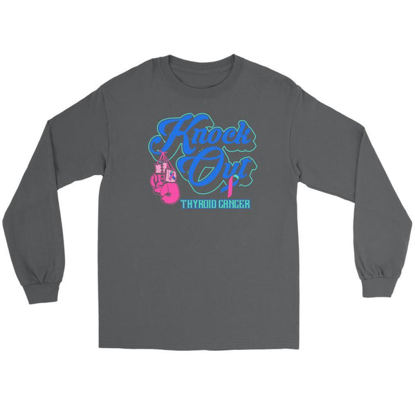 Knock Out Thyroid Cancer Awareness Teal Pink & Blue Ribbon Awesome Long Sleeve-T-shirt-Gildan Long Sleeve Tee-Grey-JoyHip.Com
