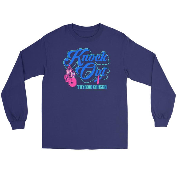 Knock Out Thyroid Cancer Awareness Teal Pink & Blue Ribbon Awesome Long Sleeve-T-shirt-Gildan Long Sleeve Tee-Purple-JoyHip.Com