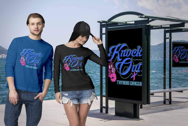 Knock Out Thyroid Cancer Awareness Teal Pink & Blue Ribbon Awesome Long Sleeve-T-shirt-JoyHip.Com