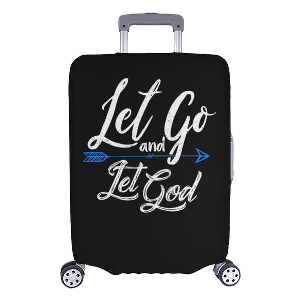 Let Go & Let God Christian Travel Luggage Cover Suitcase Protector 18-28 Inch-L-Black-JoyHip.Com