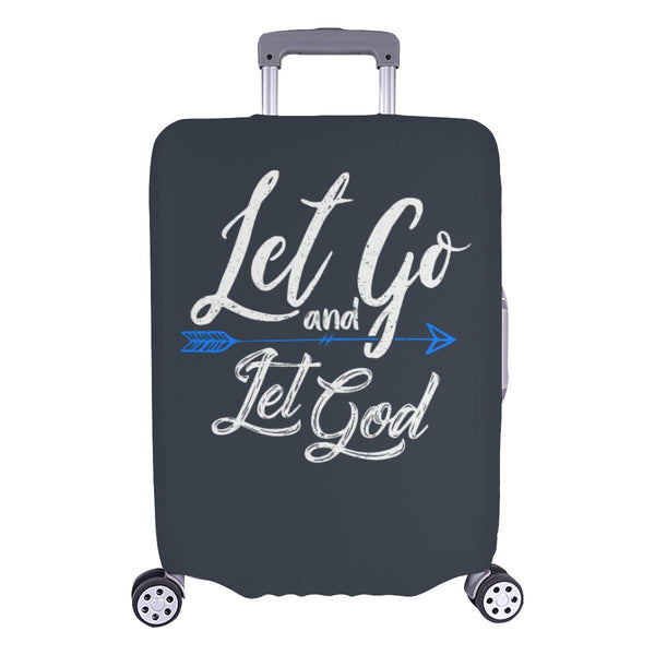 Let Go & Let God Christian Travel Luggage Cover Suitcase Protector 18-28 Inch-L-Grey-JoyHip.Com