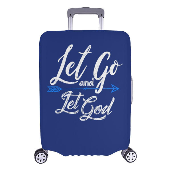 Let Go & Let God Christian Travel Luggage Cover Suitcase Protector 18-28 Inch-L-Navy-JoyHip.Com