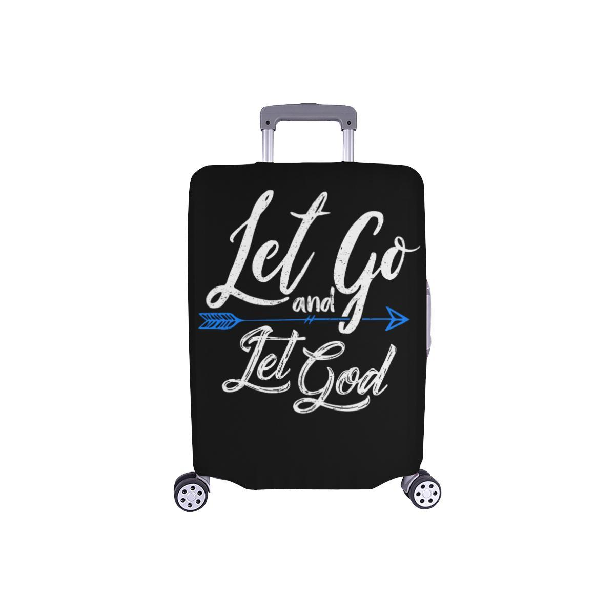 Let Go & Let God Christian Travel Luggage Cover Suitcase Protector 18-28 Inch-S-Black-JoyHip.Com