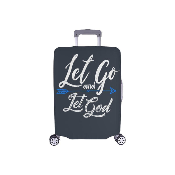 Let Go & Let God Christian Travel Luggage Cover Suitcase Protector 18-28 Inch-S-Grey-JoyHip.Com