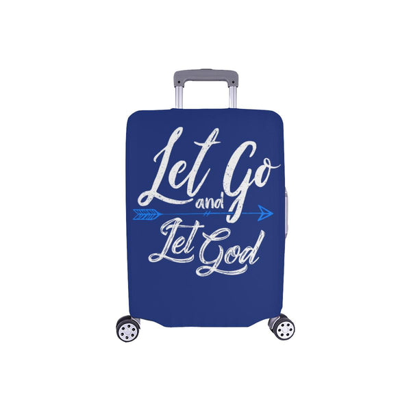 Let Go & Let God Christian Travel Luggage Cover Suitcase Protector 18-28 Inch-S-Navy-JoyHip.Com