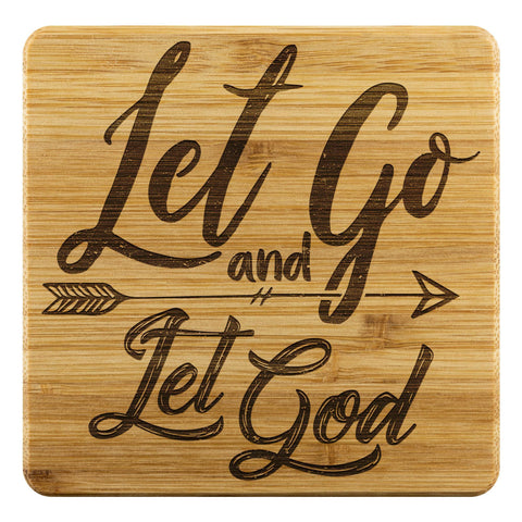Let Go & Let God Cute Funny Drink Coasters Set Christian Gifts Ideas Religious-Coasters-Bamboo Coaster - 4pc-JoyHip.Com