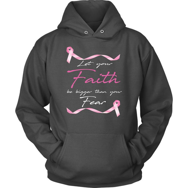 Let Your Faith Be Bigger Than Your Fear Breast Cancer Awareness Gift Hoodie-T-shirt-Unisex Hoodie-Grey-JoyHip.Com