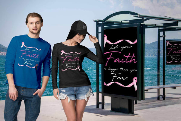 Let Your Faith Be Bigger Than Your Fear Breast Cancer Month Gift Long Sleeve-T-shirt-JoyHip.Com