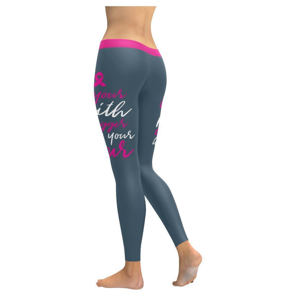 Let Your Faith Be Bigger Than Your Fear Breast Cancer Pink Ribbon Women Leggings-JoyHip.Com