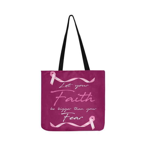 Let Your Faith Be Bigger Than Your Fear Breast Cancer Reusable Produce Bags-One Size-Maroon-JoyHip.Com