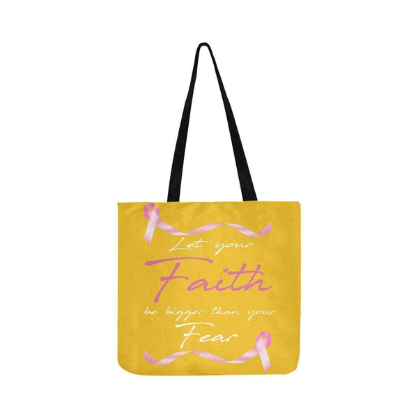 Let Your Faith Be Bigger Than Your Fear Breast Cancer Reusable Produce Bags-One Size-Yellow-JoyHip.Com