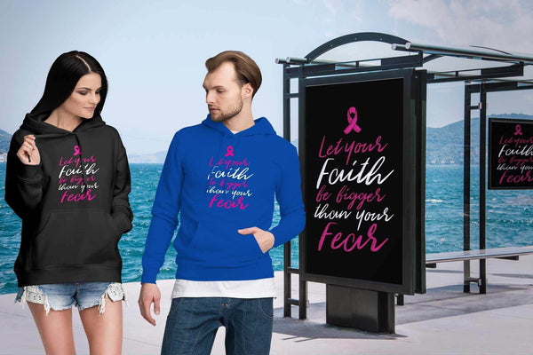 Let Your Faith Be Bigger Than Your Fear Cursive Breast Cancer Awareness Hoodie-T-shirt-JoyHip.Com