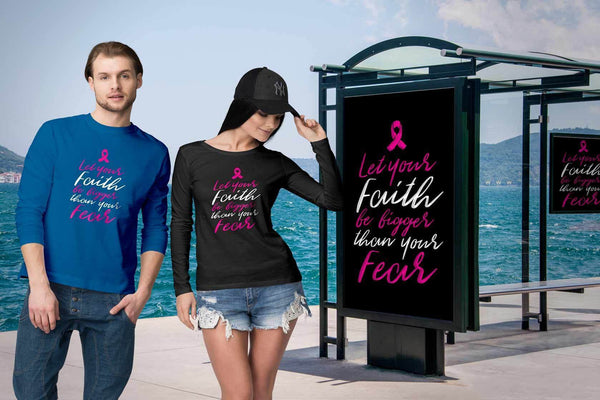 Let Your Faith Be Bigger Than Your Fear Cursive Breast Cancer Awareness Long Sleeve-T-shirt-JoyHip.Com