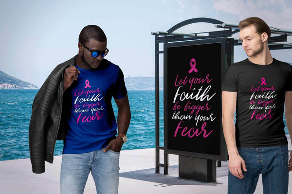 Let Your Faith Be Bigger Than Your Fear Cursive Breast Cancer Awareness TShirt-T-shirt-JoyHip.Com