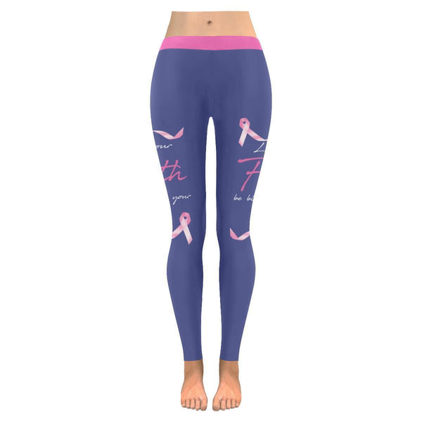Let Your Faith Be Bigger Than Your Fear Jesus Breast Cancer Pink Ribbon Leggings-JoyHip.Com