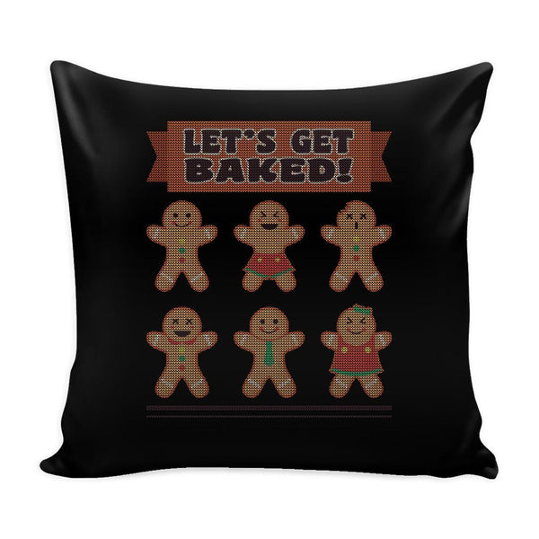 Let's Get Baked Festive Funny Ugly Christmas Holiday Sweater Decorative Throw Pillow Cases Cover(4 Colors)-Pillows-Black-JoyHip.Com