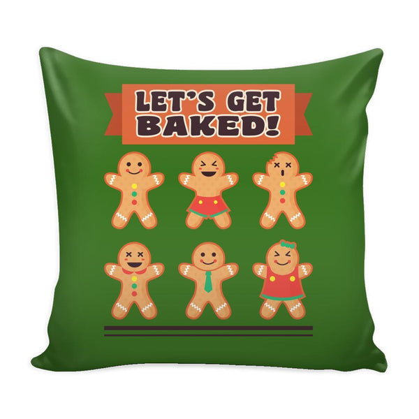 Let's Get Baked Festive Funny Ugly Christmas Holiday Sweater Decorative Throw Pillow Cases Cover(4 Colors)-Pillows-Green-JoyHip.Com